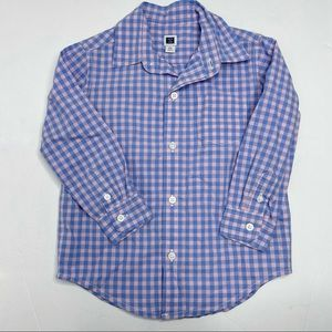 Janie and Jack Blue Pink Checker Button Front